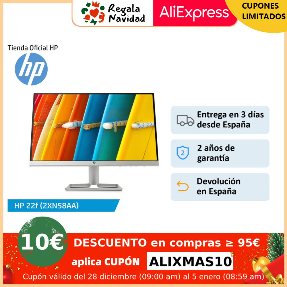 "Monitor HP 22f (2XN58AA) 21,5''/HP 24f (2XN60AA) 23,8""/HP 27f (2XN62AA) 27"", pantalla de 1080p FHD, IPS, color plata|Monitores LCD| - AliExpress"