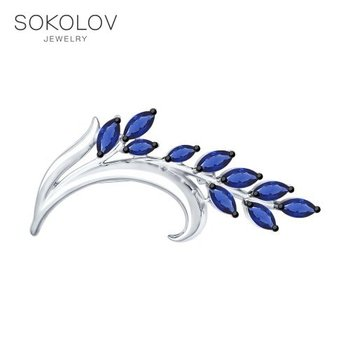 SOKOLOV brooch of silver with a blue fianitami fashion jewelry 925 women's male