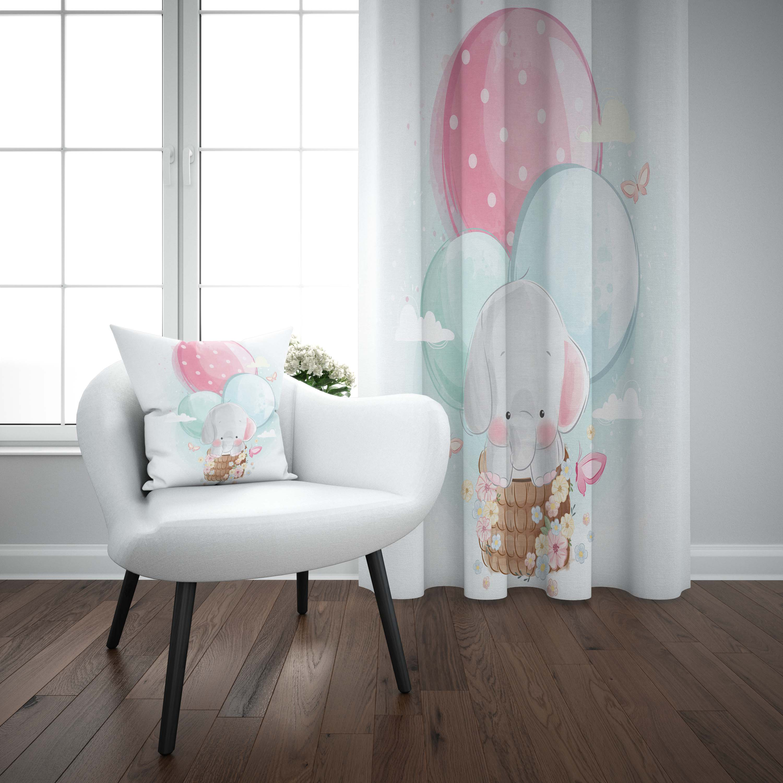 Else Gray Elephant On Air Balloons 3d Print Kids Baby Children Window Panel Set Curtain Combine Gift Pillow Case
