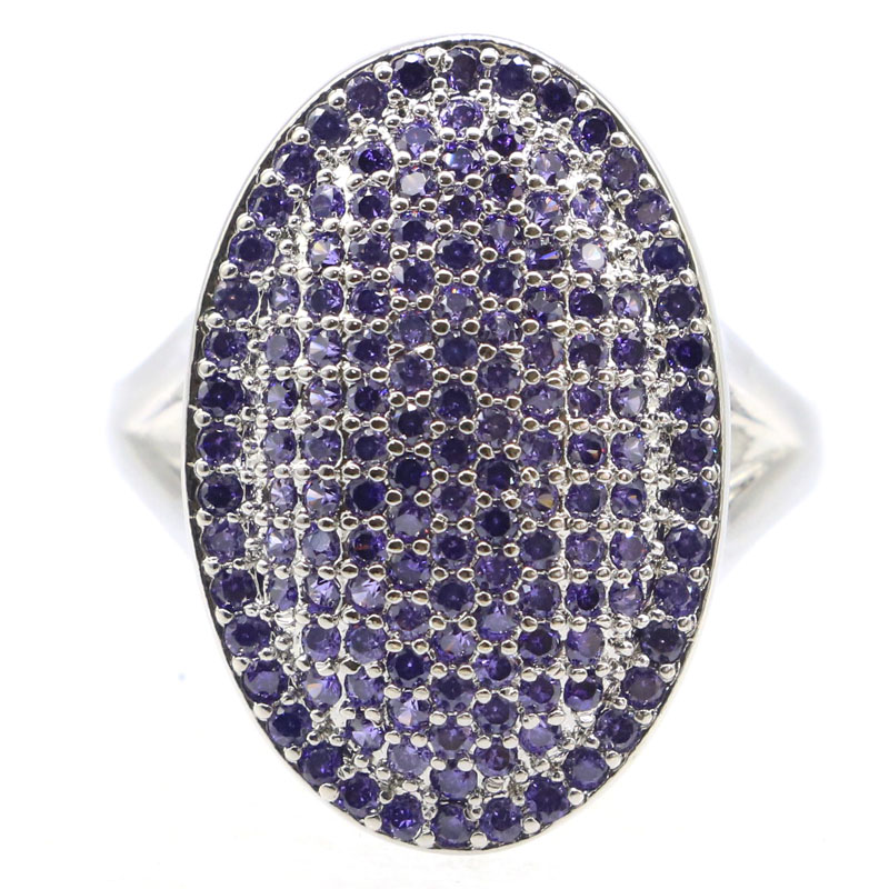 23x15mm SheCrown New Designed Created Purple Amethyst Gift For Sister Jewelry Making Silver Rings