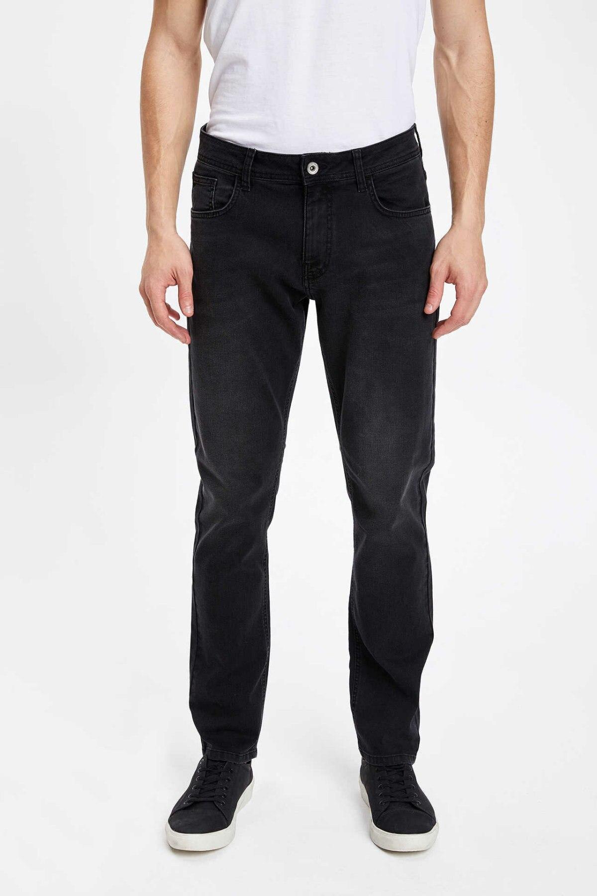 DeFacto Classic Men Black Denim Jeans Loose Mid-waist Denim Long Pants Casual Washed Jeans Trousers-K4122AZ19SP