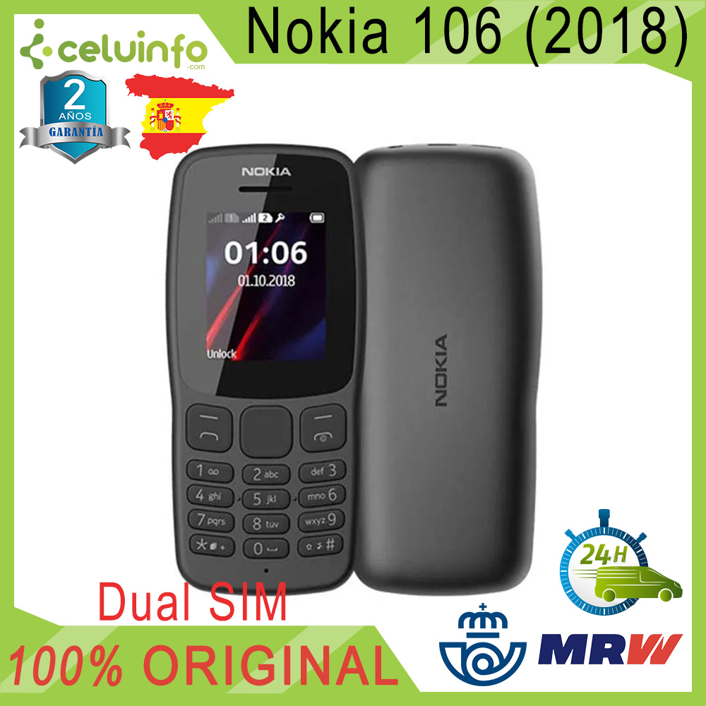 Original Nokia 106 FM Radio, Pean Version, DUAL SIM, Keys Great, Black, NEW, 2 Years Warranty Sent From Spain