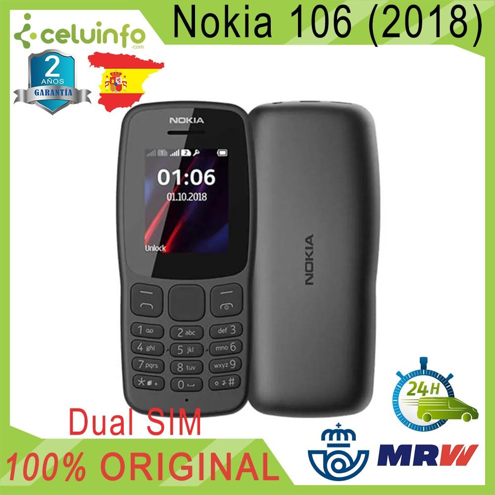 Original <font><b>Nokia</b></font> 106 FM Radio, Pean Version, DUAL SIM, Keys Great, Black, NEW, 2 Years Warranty Sent from Spain