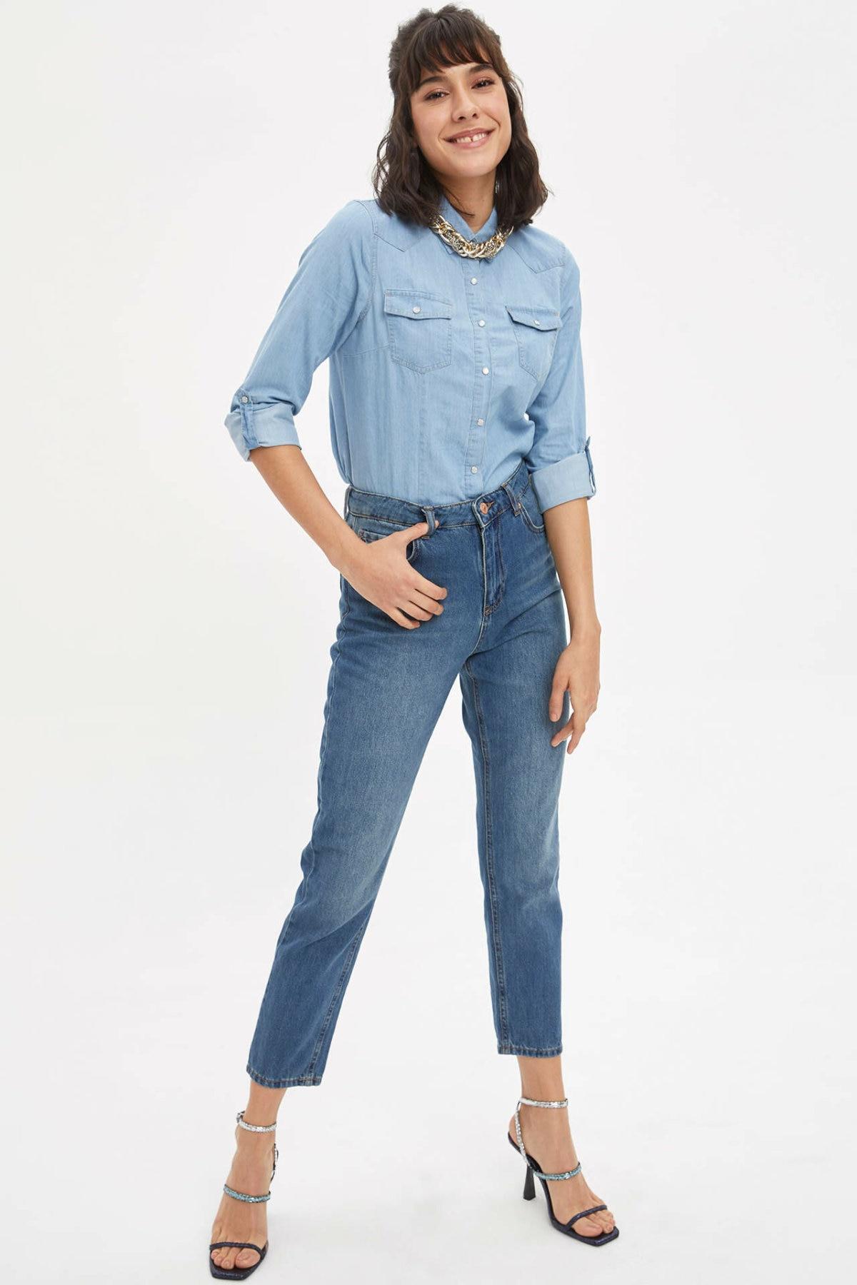 DeFacto Woman Blue Denim Jeans Women Casual Straight Denim Bottoms Female Ninth Pants Trousers-L6282AZ20SP