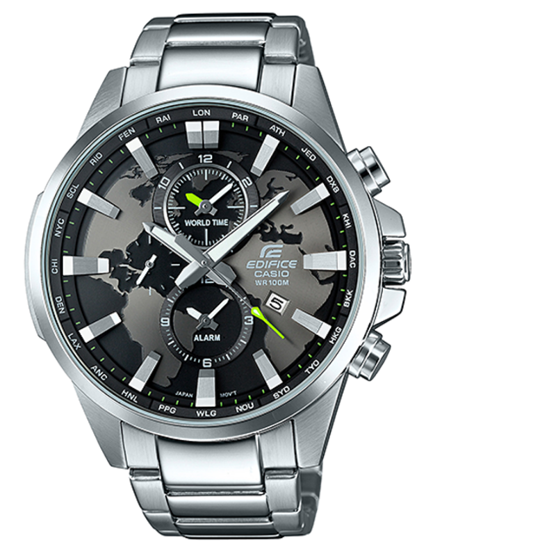 Casio Edifice Watch Dual Dial World Time World Map Dial Mens Wrist Watch Brand Luxury Quartz Waterproof EFR-303D-1AVUDF