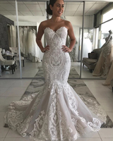 Vintage Vestido Sereia 2020 Lace Applique Mermaid Wedding Dress Sweetheart Sleeveless Backless Vestidos Novia