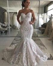 فستان زفاف عتيق من Vestido Sereia 2020 مزين بالدانتيل حورية البحر على شكل قلب بدون أكمام بدون ظهر Vestidos Novia