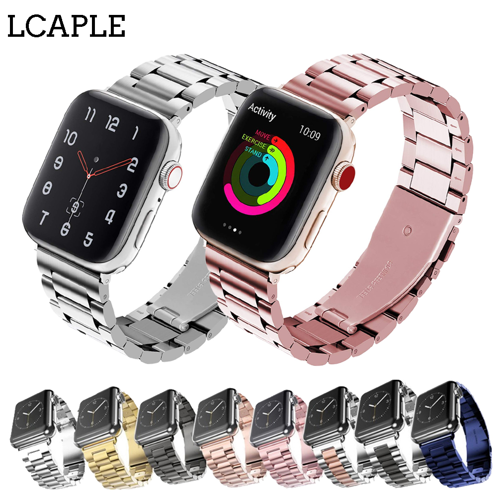 Strap For apple watch band 44 mm 40mm Apple Watch 4 3 2 1 Iwatch band 42mm 38mm Stainless Steel Link Bracelet Belt Watchband in Watchbands from Watches
