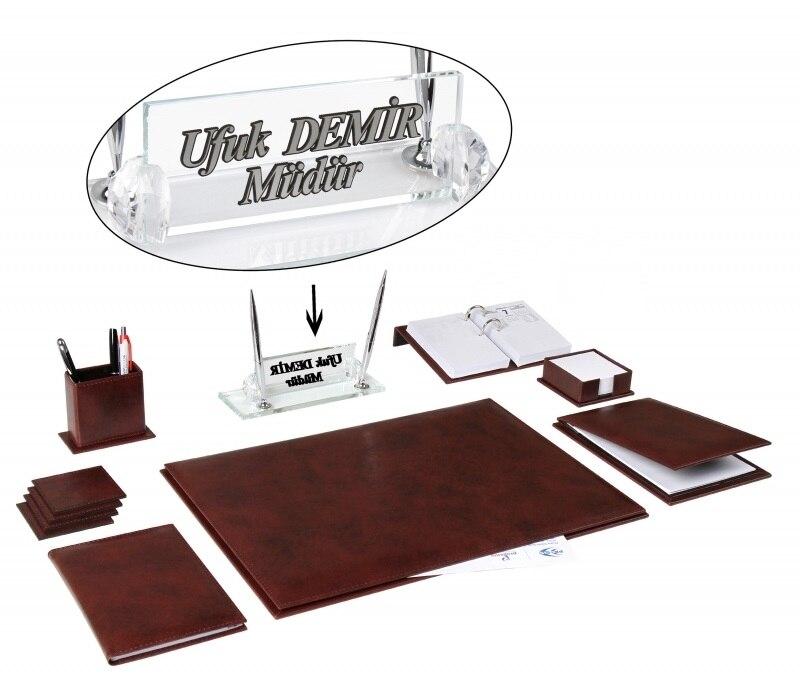 AKSU Office Business Leather Claret Red Desk Set Desk Pad Set Name Plate Set And Crystal Table Nameplate Accessories Set