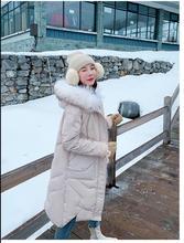 Kış ceket ins süper yangın kışlık kıyafet 2019 yeni büyük saç yaka aşağı pamuk kapitone ceket kadın uzun stil çok yönlü