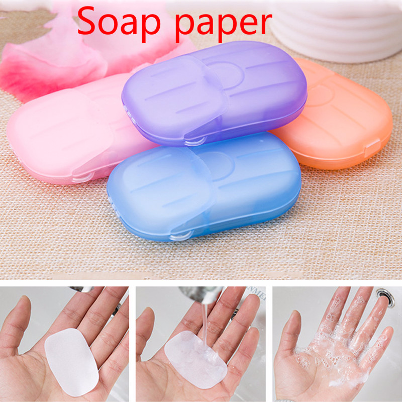 20Pcs Disposable Soap Paper Clean Scented Slice Foaming Box Mini Paper Soap For Outdoor Travel Use Color Random TSLM2