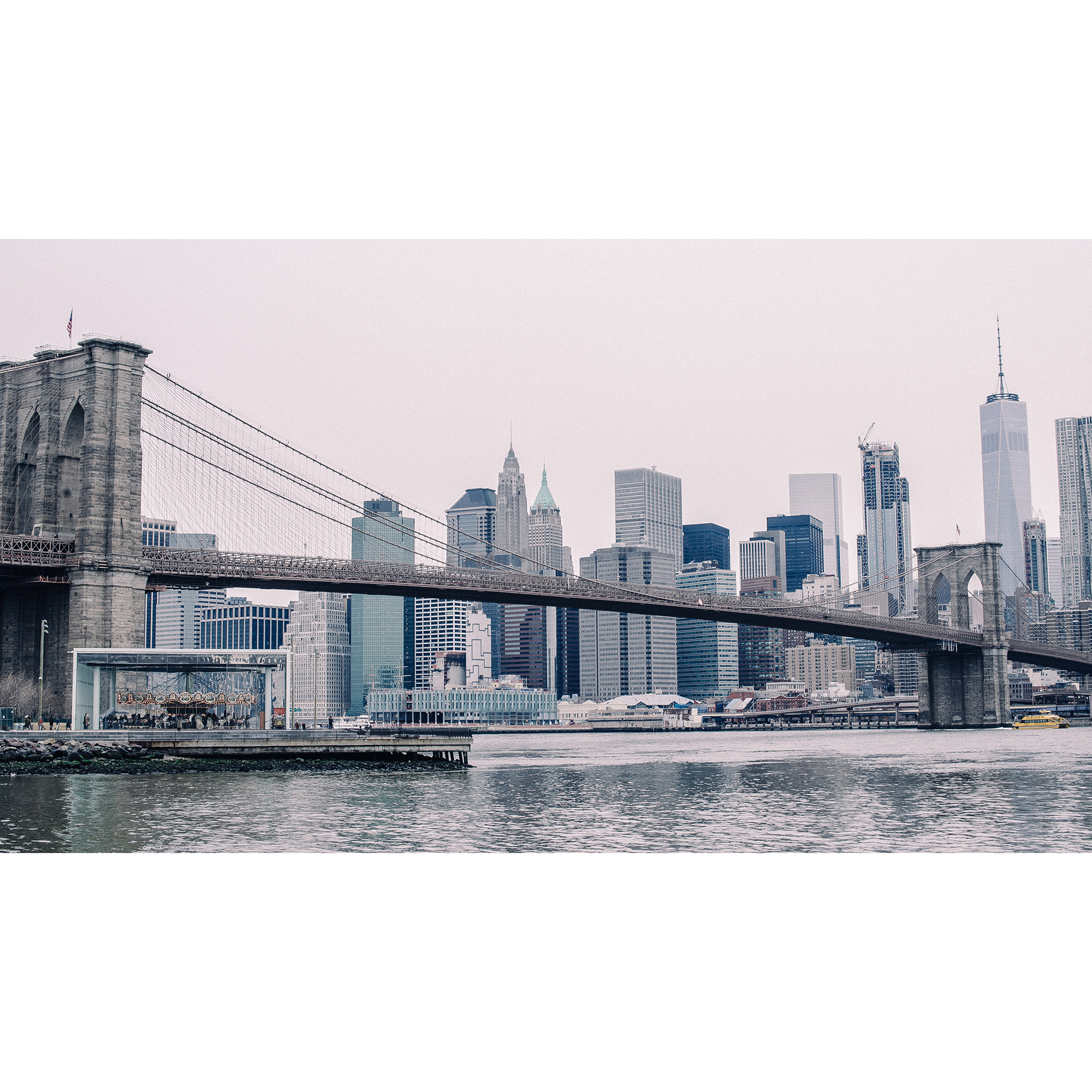 Photo Wallpaper City New York, Brooklyn Bridge. Stereoscopic photo wallpaper for bedroom room home - 3