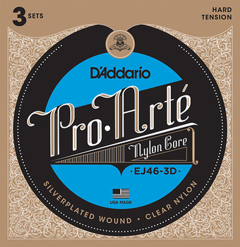 Ej46-3d Pro-Arte nylon strings for classical guitar, strong tension, 3 sets, D'Addario