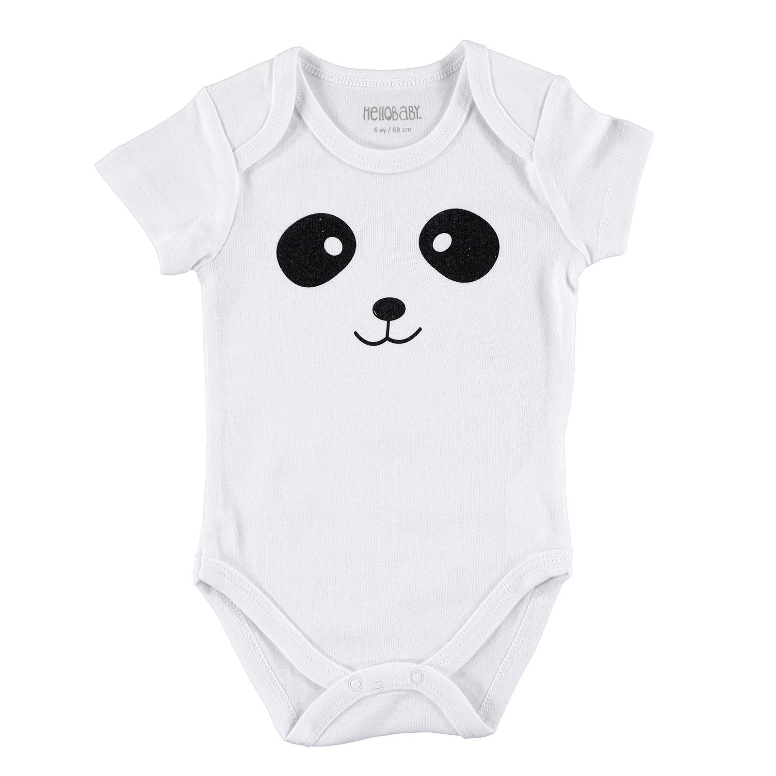 Ebebek HelloBaby Little Animals Face Printed Baby Short Sleeve Bodysuit