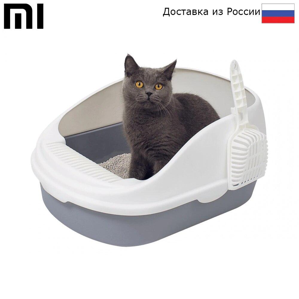 Лоток для кошек Xiaomi Semi open Cat Litter Высокий бортик, Разборная конструкция, Нескользящие ножки, 55 х 38 х 25 см