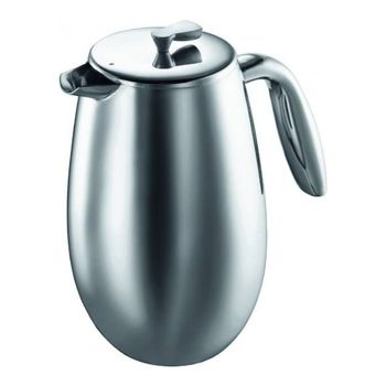 Coffee Pot French Press double walled Bodum Columbia, 1L, 1308-57, Color Matte Chrome, stainless steel
