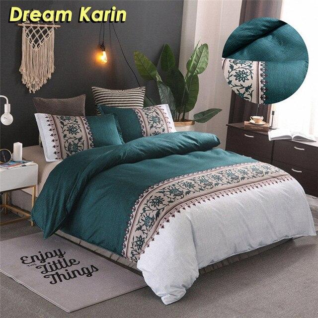 بسيطة فاخرة الملك الحجم الفراش مجموعات الأزهار الجاكار سرير مطبوع حاف الكتان مجموعة غطاء لحاف يغطي المفارش (لا غطاء سرير)