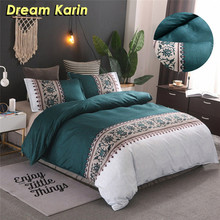 Simple Luxury King Size Bedding Set Floral Printed Duvet Cover Sets Bed Linen Quilt Covers Single Queen BedClothes(No Bed Sheet) cheap DREAM KARIN None 100 Polyester 1 5m (5 feet) 2 0m (6 6 feet) 2 2m (7 feet) Quality EB1353 300TC Brief Europe Morden Woven