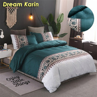 Simple Luxury King Size Bedding Set Floral Printed Duvet Cover Sets Bed Linen Quilt Covers Single Queen BedClothes(No Bed Sheet)