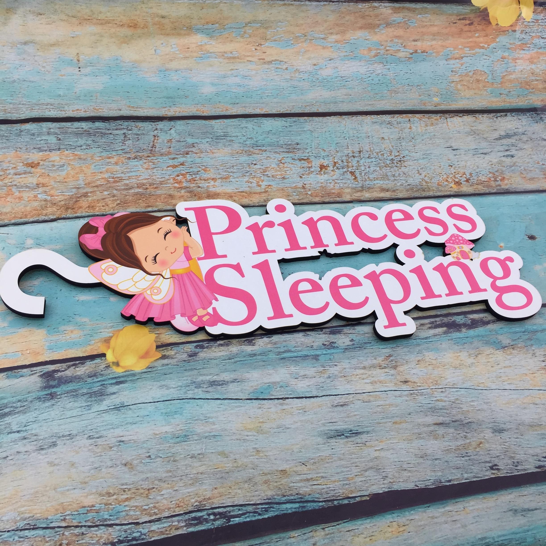 Sleeping Baby Wood Door Hanger Sign | Shh We Have A Sleeping Baby, Please Do Not Knock Ring The Doorbell | Engraved Newborn Baby