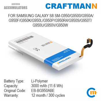 Battery for Samsung GALAXY S8 SM-G950/G9500/G950A/G950F/G950K/G950L/G950P/G950R4/G950S/G950T/G950U/G950V/G950W (EB-BG950ABE) battery original for samsung galaxy s8 eb bg950abe sm g9508 g9500 g950u li ion replacement batteria akku