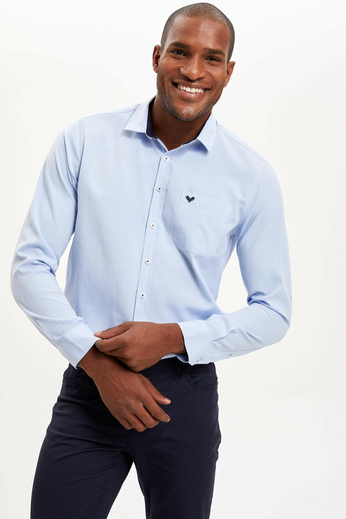 DeFacto Men Formal Solid Shirt Casual Woven Top Long Sleeve Shirt Office Business Wear Top Shirt New - L0671AZ19AU
