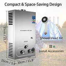 Calentador de agua instantáneo de propano, Caldera SIN depósito de 8L, 2.1GPM, LPG, con ducha
