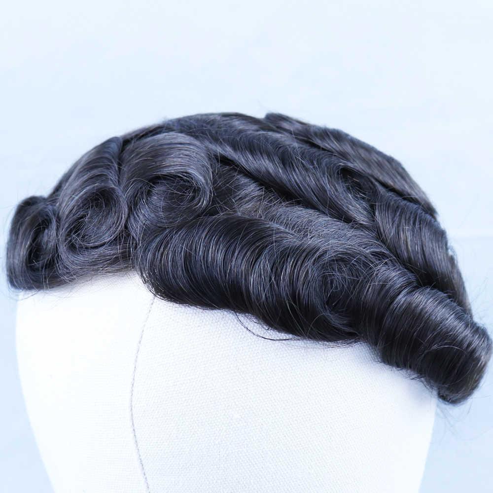 """YY peruk doğal siyah erkek peruğu brezilyalı Remy insan saçı peruk erkekler için 8x10 tam cilt PU saç değiştirme sistemi 6 """"kıvırcık"""