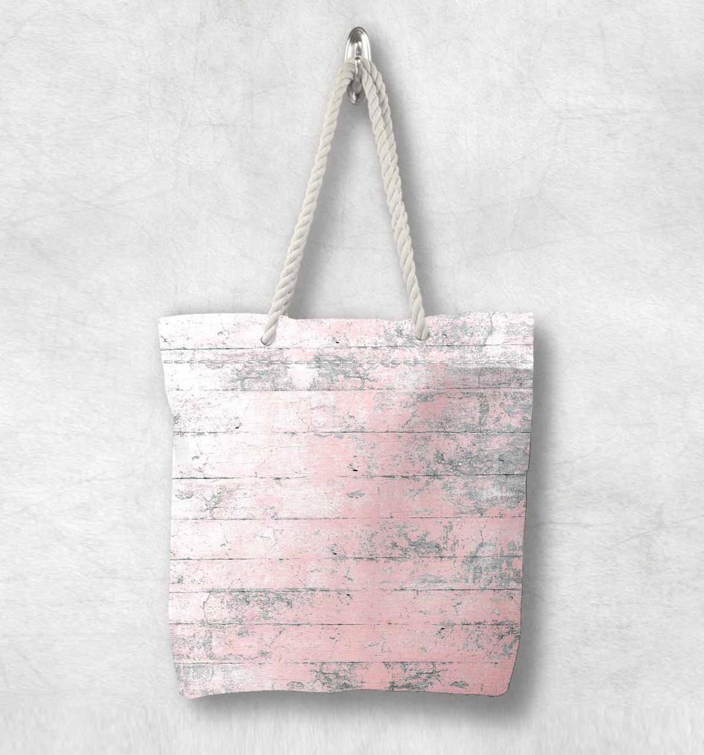 Else Pink Gray Vintage Wood Aging New Fashion White Rope Handle Canvas Bag Cotton Canvas Zippered Tote Bag Shoulder Bag