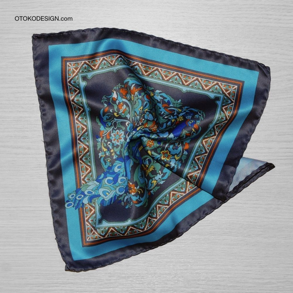 Pocket Square With Peacock Pattern On A Blue Background With Blue Edging (53138)