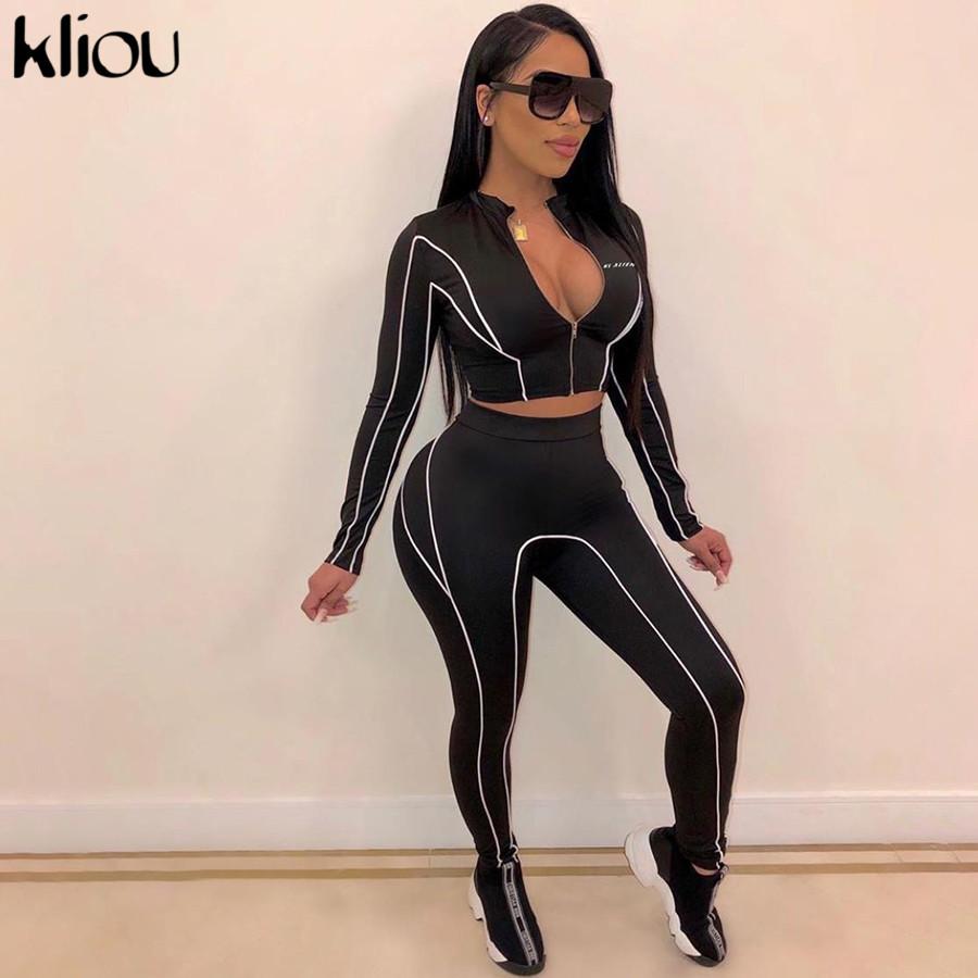 kliou women 2 pieces set fitness tracksuit long sleeve zipper crop top+leggings fashion reflective letters sportswear outfits
