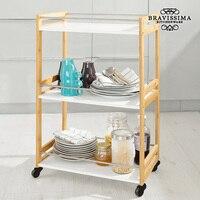 Trole de garçonete de bambu da cozinha bravissima|Bolsas de armazenamento dobráveis| |  -
