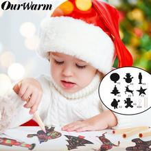 OurWarm 24pcs Magic Color Scratch Black DIY Drawing Toys Scraping Painting Kid Doodle  Xmas Tree Christmas Ornaments