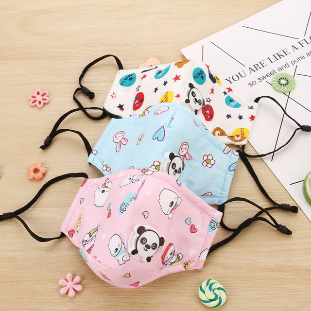 PM2.5 Washable Mouth Mask With Valve Kids Children Anti Haze Dust Mask Nose Filter Face Muffle Bacteria Flu Respirator 2