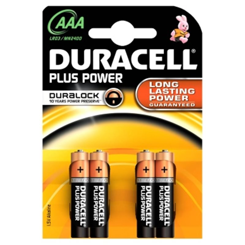 BATTERY DURACELL POWER PLUS AAA LR03 BLISTER 4 PCS