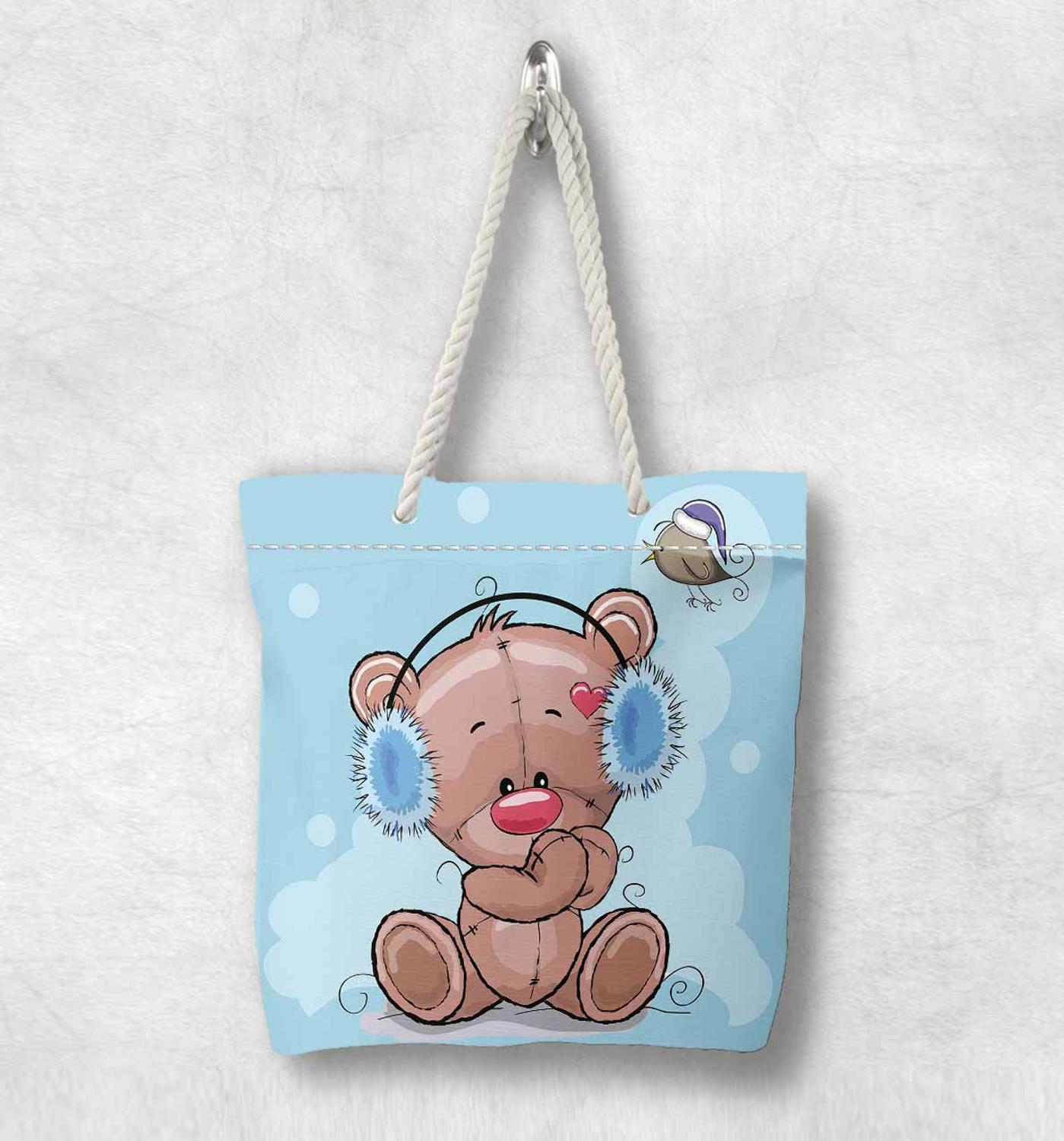Else Blue Floor Brown Bears Butterfly White Rope Handle Canvas Bag  Cartoon Print Zippered Tote Bag Shoulder Bag