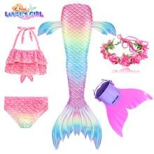 2021 quente sereia cauda para meninas sereias traje copslay traje natação sereia vestido de festa praia surf crianças biquíni