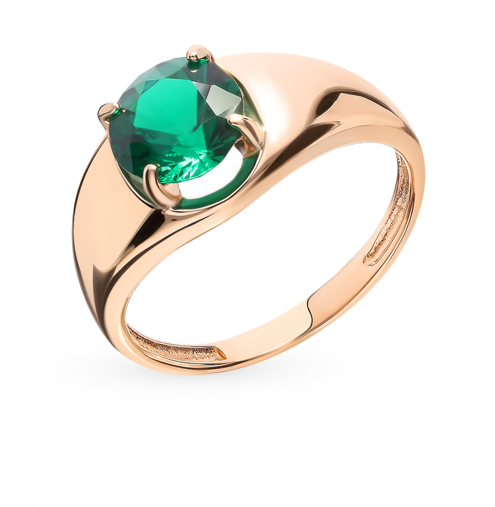 Gold Ring With Emerald Sunlight Sample 585