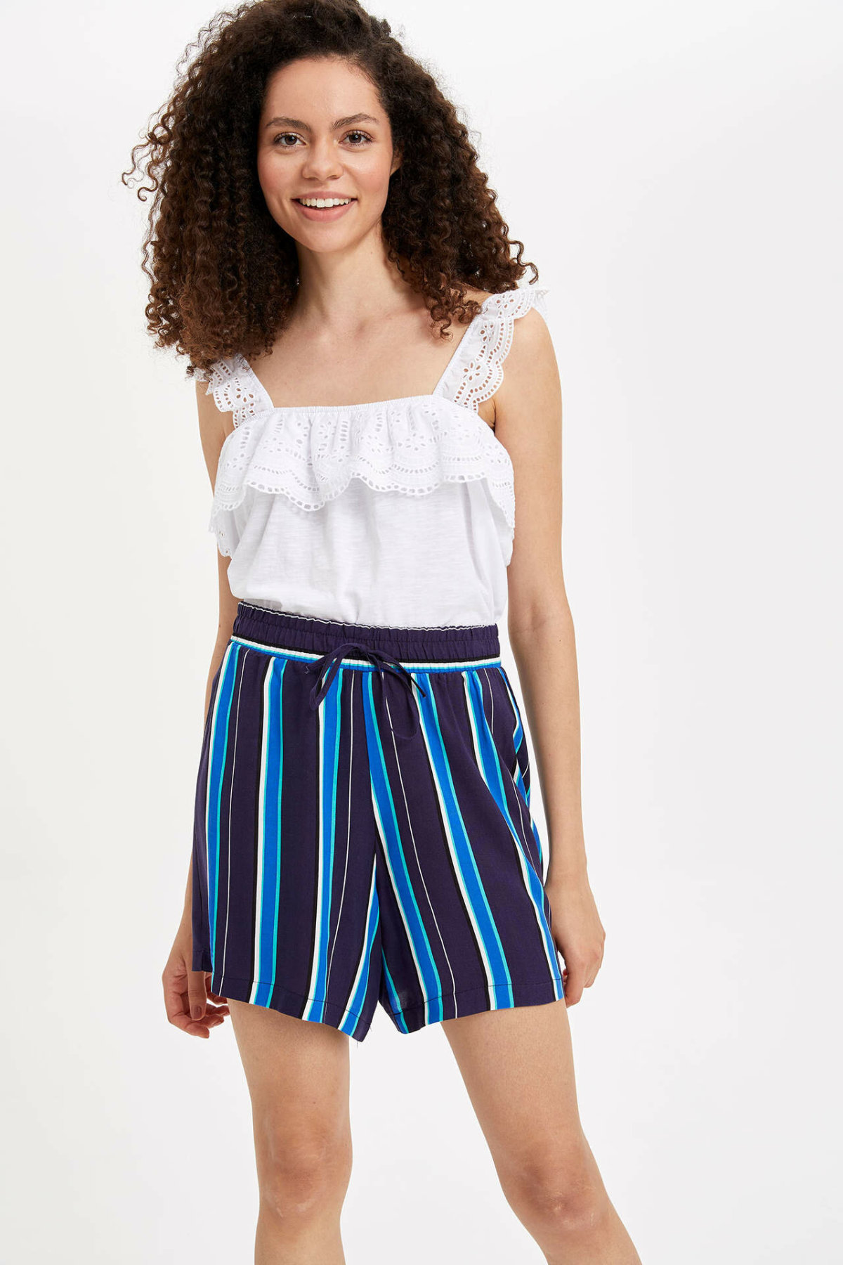 DeFacto Summer Women Short Pants Ladies Casual Striped Loose Shorts Female Drawstring Comfort Bottoms New - L2957AZ19HS