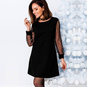 Anself Women Autumn Dress Pearls Beading Sheer Mesh Long Sleeve Female Dress Tunic O Neck A Line Elegant Party Dresses Black/Red(China)