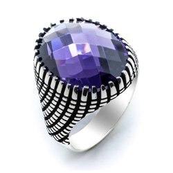 خاتم فضة رجالي من حجر الزريكون بلون الجمشت