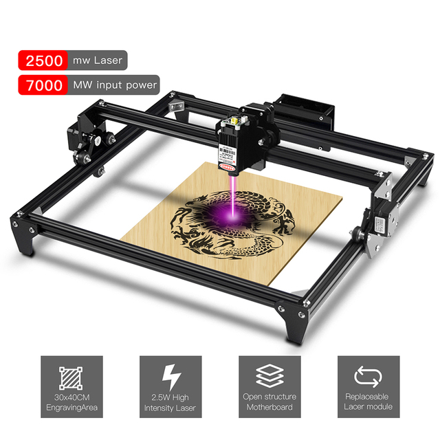 Two Trees Totem Mini Laser Engraving Machine 2Axis color 30*40cm 2500MW 5500MW DIY Engraver Desktop Wood Router + Laser Goggles
