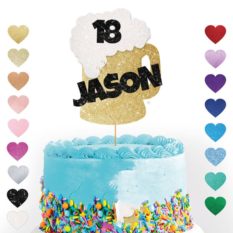 Custom Beer Cake Topper Any Name Age Beer Drink Cheers Glitter Cake Personalised Dad Grandad Brother Party Decorations Cake Decorating Supplies Aliexpress