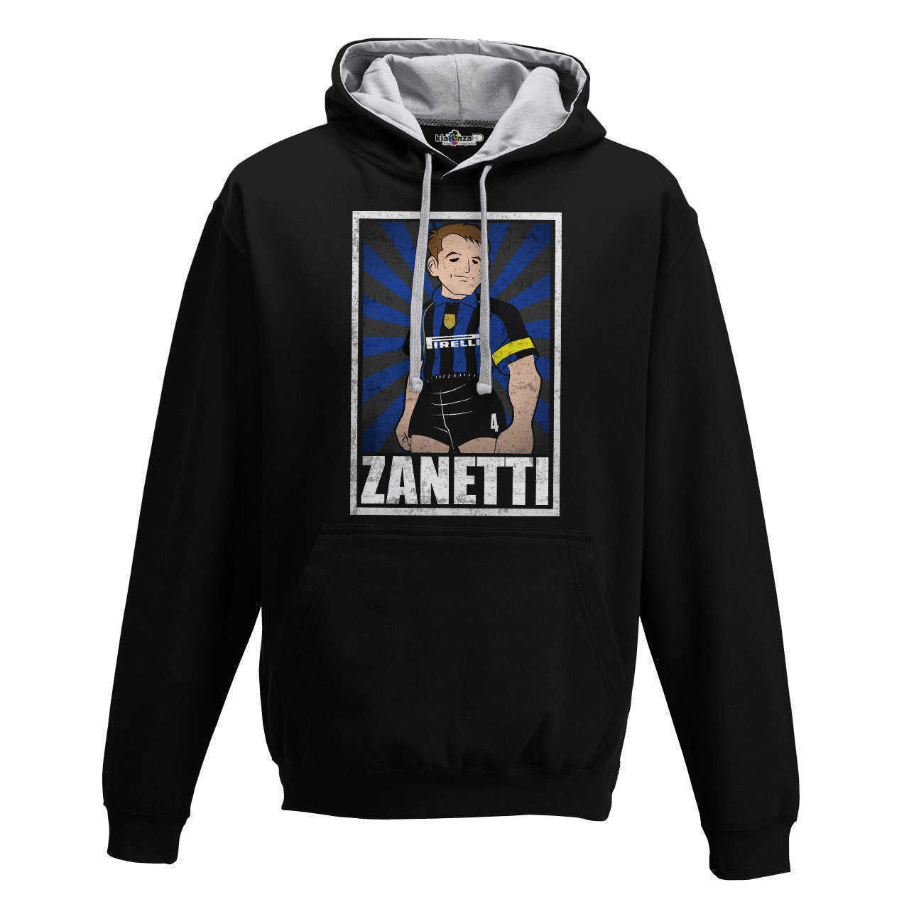 Hood Sweatshirt Bico Vintage Zanetti <font><b>Soccer</b></font> <font><b>Inter</b></font> <font><b>Milan</b></font> Legend Spoof Holly and Benji Grunge S image