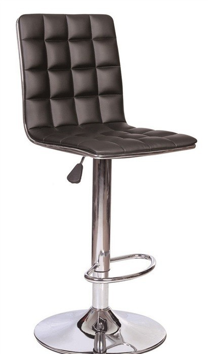 Stool CUBUS, Chrome Finish, Upholstered Black
