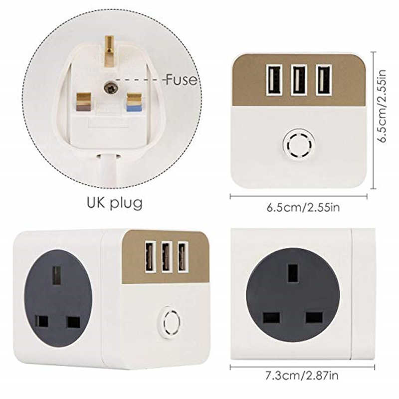 4 WAY GANG 2M EXTENSION LEAD UK CABLE SOCKET USB POWER WIRE SURGE PROTECTED PLUG