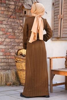 Knitwear Pleated Women s Maxi Dress Modest Big Size Islamic Clothing Muslim Fashion for winter