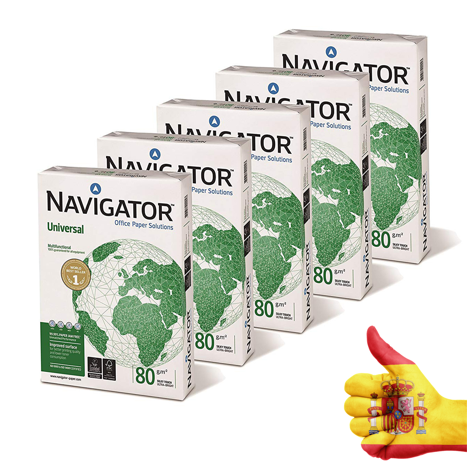 Navigator Universal-Paper's Printout 2500 Sheets (A4, 5x500 Sheets, 80g/m2) COPY MACHINE MULTI PURPOSE INK-JET AND LASER-PACKAGE
