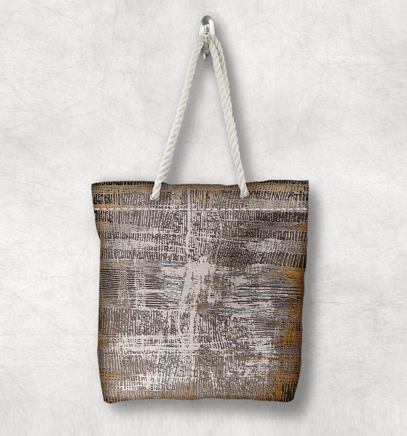 Else Orange Brown Lines Anatolia Antique Kilim Design White Rope Handle Canvas Bag Cotton Canvas Zippered Tote Bag Shoulder Bag
