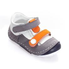 MyWondry Summer Gray Orange Genuine Leather Baby Boy First Step Shoes